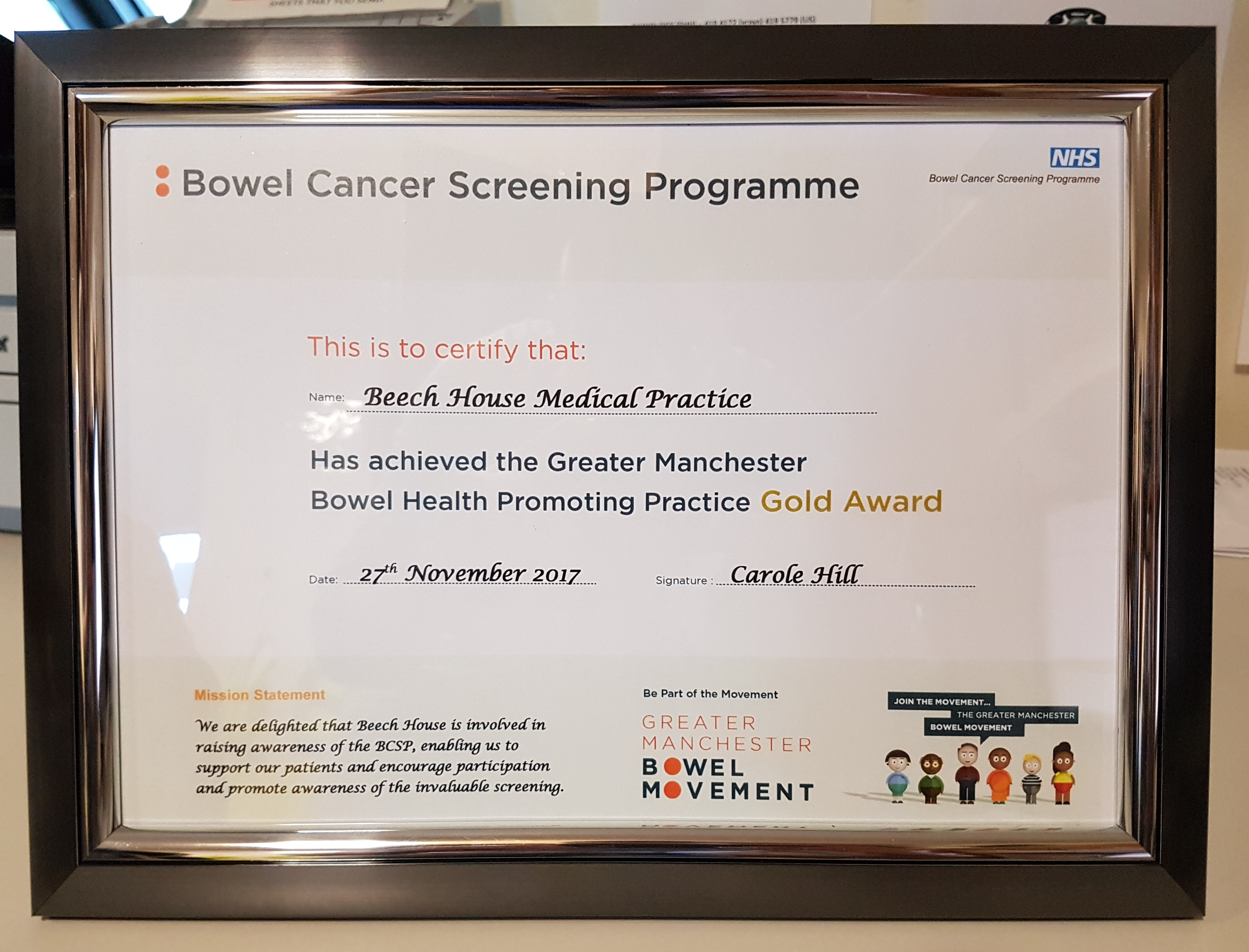 Stockport GP first in Greater Manchester to win gold award.