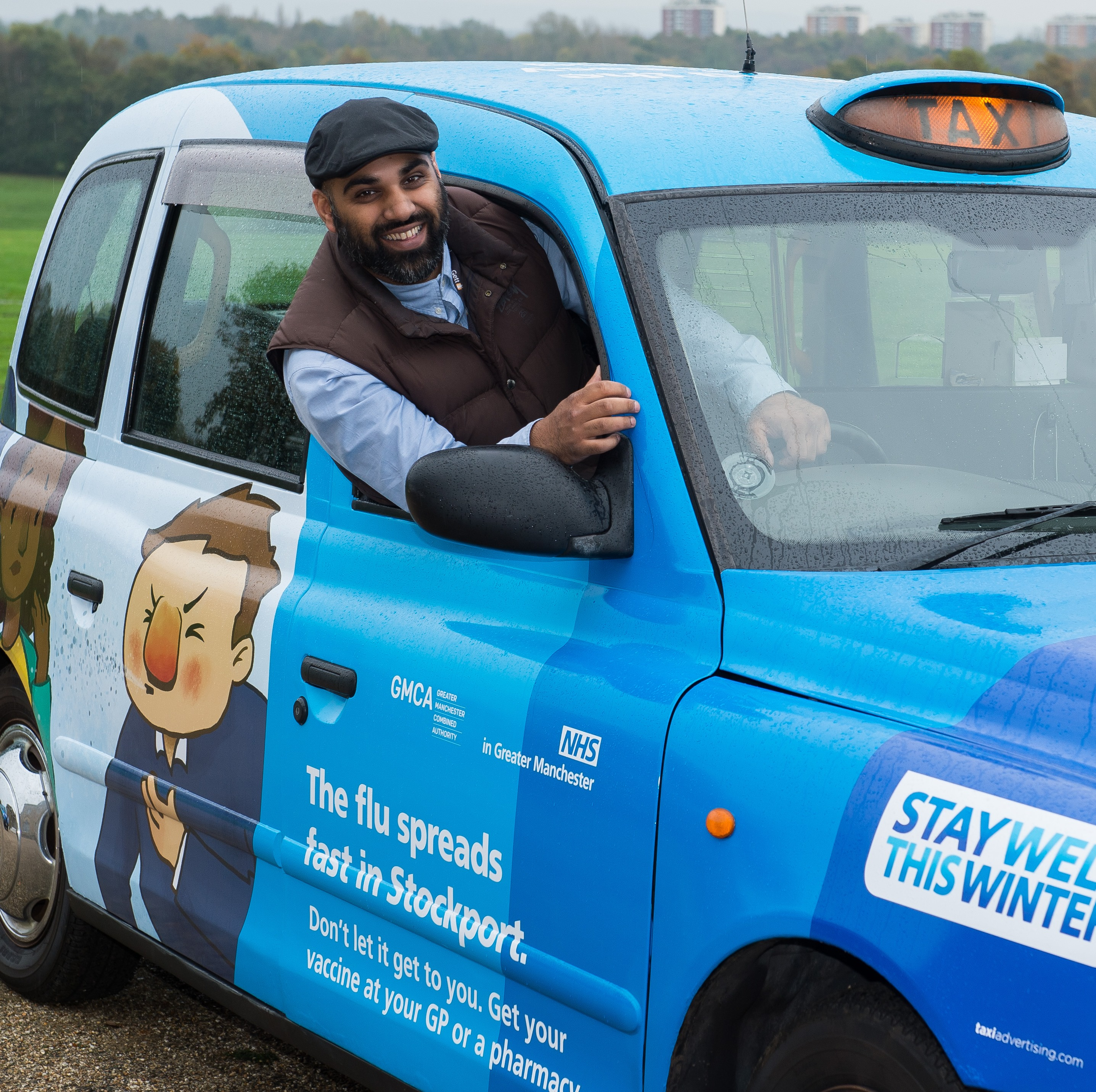 Stockport taxi driver joins fight against flu
