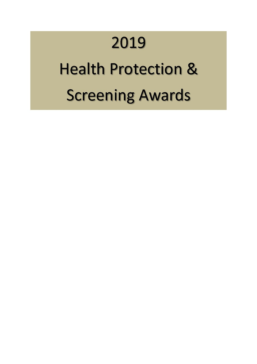 Stockport Health Protection & Screening Awards