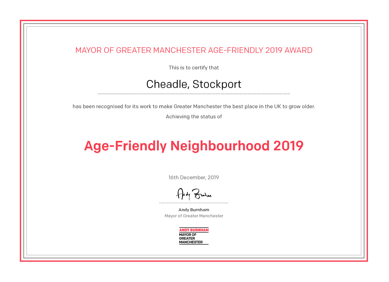 Stockport's a winner in the Age-Friendly Challenge